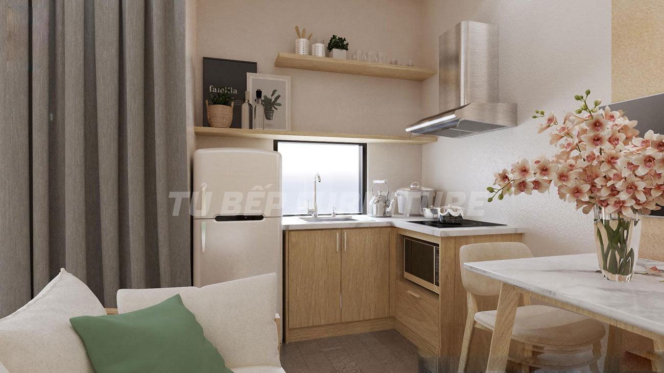 Tủ bếp căn hộ dịch vụ gọn đẹp