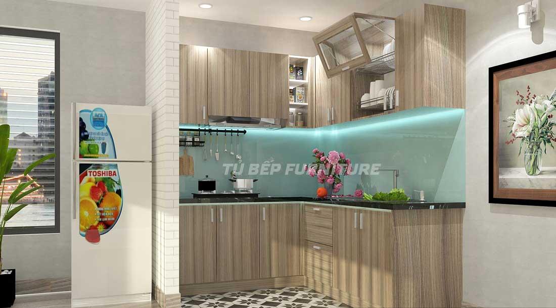 Tủ bếp gọn đẹp cho căn hộ