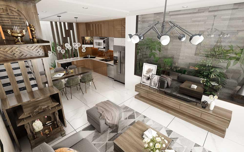 Phòng khách liền bếp