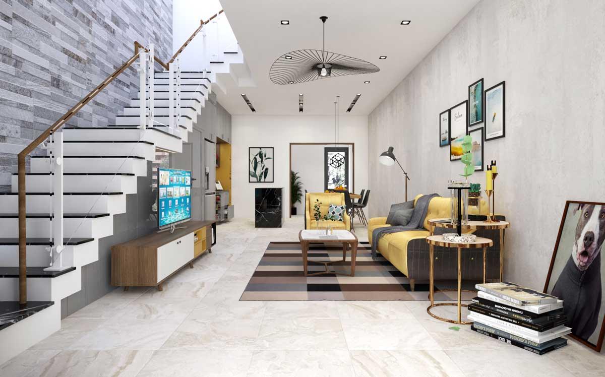 Phòng khách và cầu thang