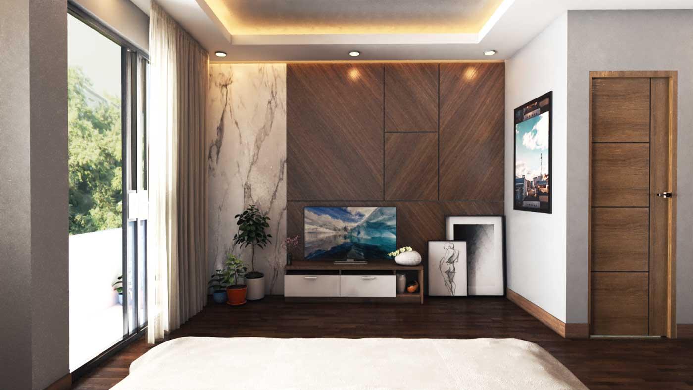Vách ốp kệ tivi trang trí phòng khách