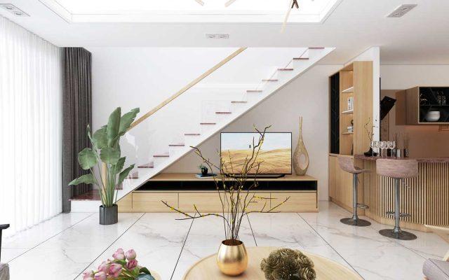 Phòng khách và cầu thang kính