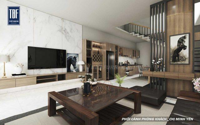 Thiết kế vách ốp tường phòng khách